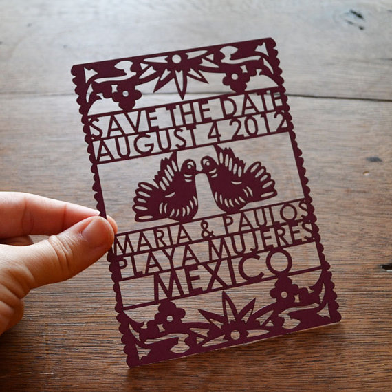 Papel Picado Laser Cut Save The Date