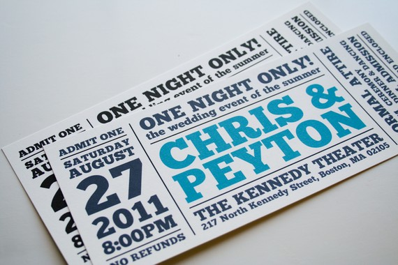 one night only ticket wedding stationery meandyoulookbook