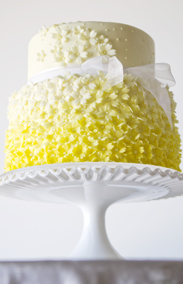 Yellow Flowers Tiered Birthday Cake
